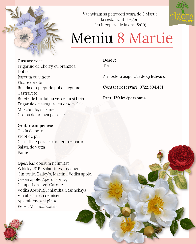 Meniu 8 Martie 2020 Restaurant Agora